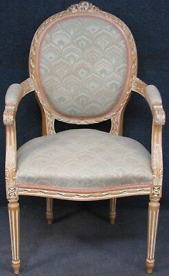French Style Carved Armchair With Solid Beech Painted Frame No 1