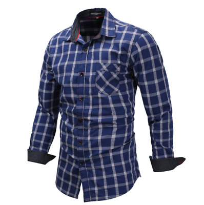 Luxury Fashion Men's Slim Fit Shirt Cotton Long Sleeve Shirts Casual Shirt Tops
