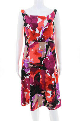 Trina Turk Womens Graphic Floral A Line Sleeveless Dress Pink Size 8 11010902