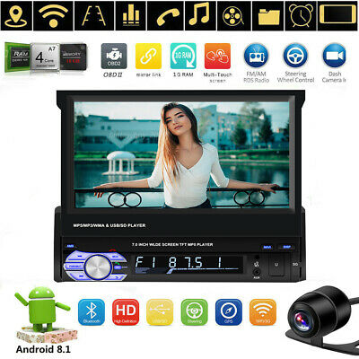 """Single 1 DIN Android 8.1 Car NO DVD Stereo Player 7"""" HD Flip Screen FM Radio GPS"""