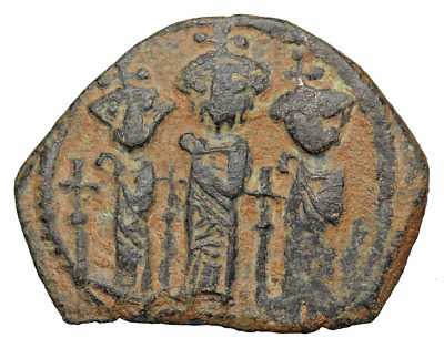 Heraclius, with Martina and Heraclius Constantine. 610-641. Æ Follis, Cypriot