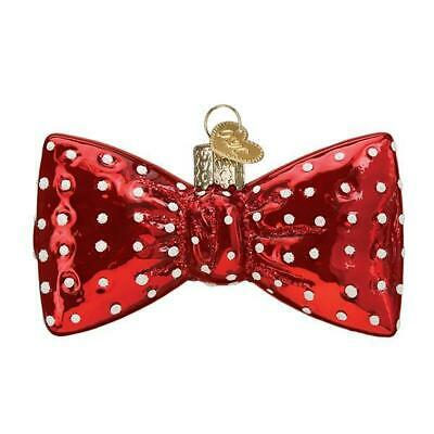 Red & White Polka Dot Bowtie Old World Christmas Glass Ornament Nwt 32374
