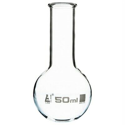 LabGlass Flat Bottom Boiling Flask Narrow Neck with Beaded Rim 50ml Pack of 12