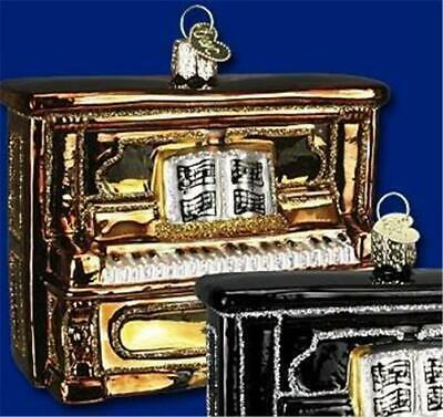 Golden Brown Upright Piano Old World Christmas Musical Glass Ornament Nwt 38017