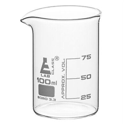 LabGlass Low Form Beaker with Spout Graduated 100ml Pack of 12