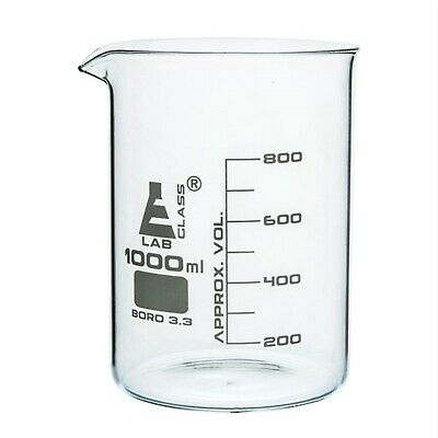 LabGlass Low Form Beaker with Spout Graduated 1000ml Pack of 6