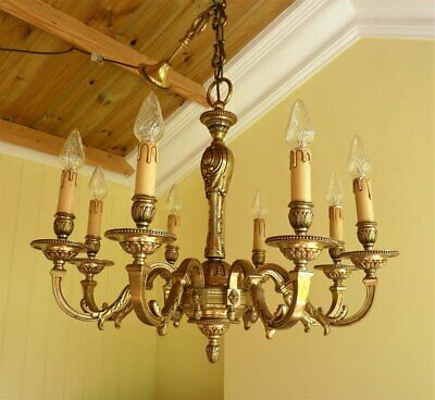 Antique Vintage 8 lamp French Rococo Chandelier Ceiling Light * Heavy quality