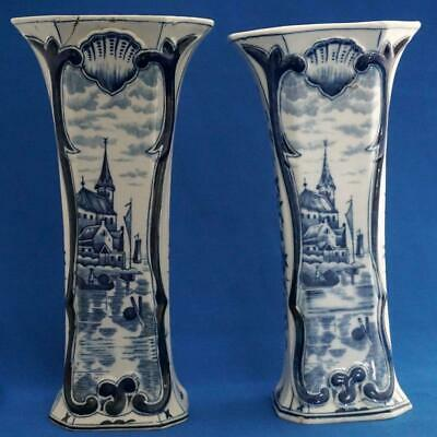 Pair of Antique Delft Pottery Blue and White Vases