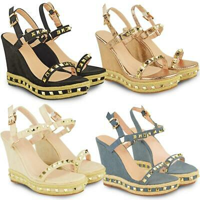 Womens Ladies Wedge High Heels Sandals Studded Slingback Ankle Strap Shoes New