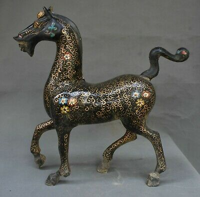 """16"""" Old Chinese Bronze Ware Gilt Dynasty Palace Flower War Horse Word Sculpture"""