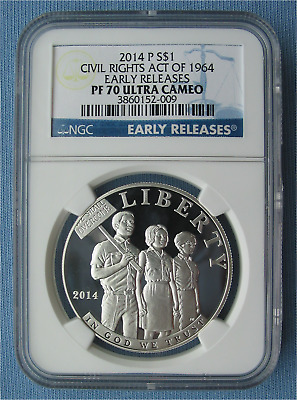 2014 P Civil Rights Act of 1964 Commemorative Silver Dollar NGC MS69