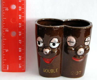 DOUBLE SHOT Vintage Figural Pottery SHOT GLASS