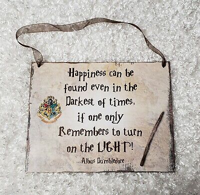 """Harry Potter theme """"happiness can be found.."""" chipboard sign wall hanging decor"""
