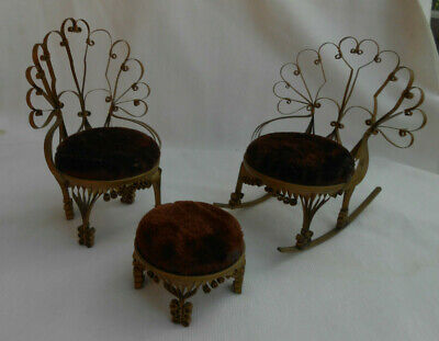 3 P Dollhouse Furniture Rocking Chair Foot Stool Velvet Tin Can Art Tramp Rare