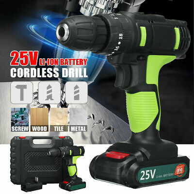 "25V Cordless Drill Hammer Impact 3/8"" 2-Speed LED Worklight Li-ion Battery 10MM"