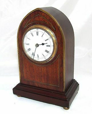 Antique Brass Inlaid Mahogany Miniature Bracket Mantel Clock CLEANED & SERVICED