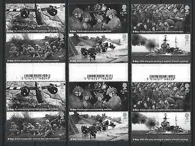 GREAT BRITAIN 2019 75th ANNIVERSARY OF D-DAY SET GUTTER PAIRS UNMOUNTED MINT MNH