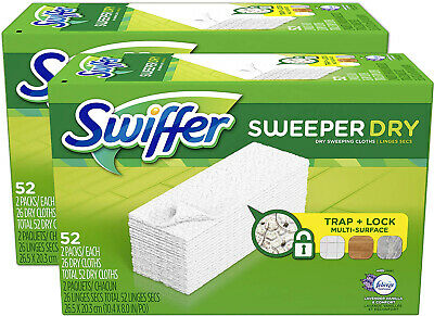 Swiffer Sweeper Dry Mop Pad Refills for Floor Mopping and Cleaning, 104 ct