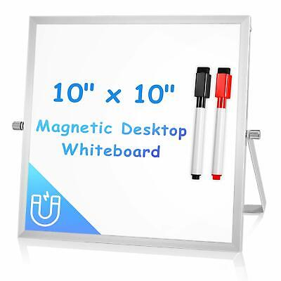 "Small Dry Erase Board for Desk 10"" X 10"", Arcobis Magnetic Double Sided Desktop"