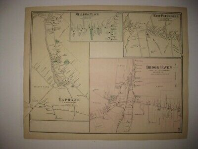 Antique 1873 Yaphank Brookhaven Patchogue New York Handcolored Map Rare Fine Nr