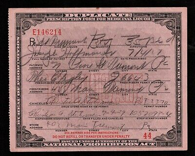 7/4 1929 PROHIBITION Whiskey Prescription Old Doctor Pharmacy Hoffman  Tremont PA