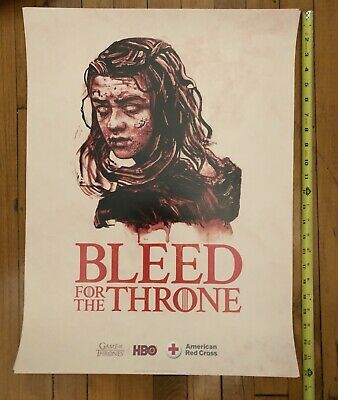 "Game Of Thrones ""Bleed For The Throne"" Arya Stark HBO Red Cross Poster 18x24"