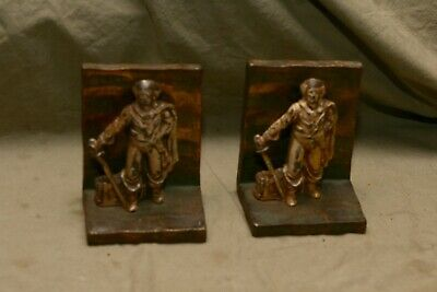 Vintage Antique Painted Cast Metal Pirate Bookends Solid Brass Bronze Backing