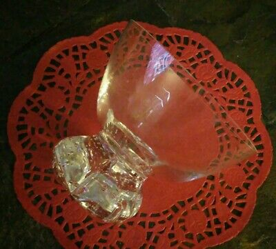 ~Beautiful Hand Blown Crystal Glass Rose Bowl Bud Vase~Controlled Bubble Bottom~