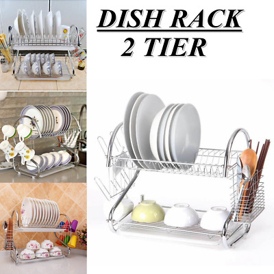 Large Capacity 2 Tier Dish Cup Drainer Drying Rack Kitchen Storage Home Saving