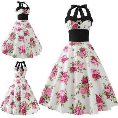 Party women Retro Sleeveless Evening vintage floral Summer skirts Swing Dresses