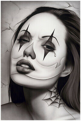 462524447 Tears of a Clown by Spider Latina Payasa Woman Tattoo Poster Art Poster  Print
