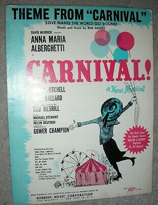 1961 THEME FROM CARNIVAL Love Makes The World Go Round Sheet Music Bob Merrill