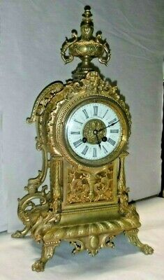 Camerden & Forster Rare Beautiful Brass French Antique 8 Day Chime Clock Working