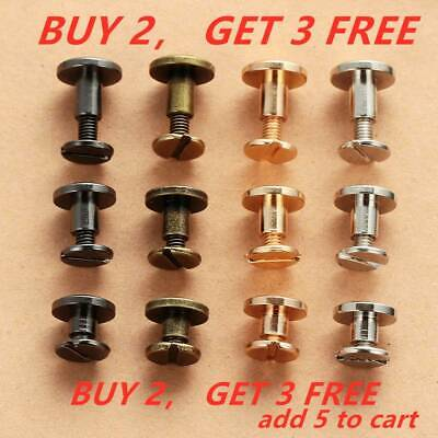 10Pcs Belt Screw Brass Solid Rivets Stud Head Leather Craft Nail For Wallet QE