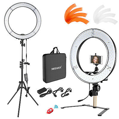 """18"""" 55W Dimmable Desktop and Floor Ring Light Lighting Kit with Support Stand"""