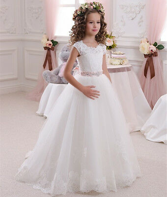 Lace Wedding Flower Girls Dress Holy Communion Party Prom Kids Princess Pageant