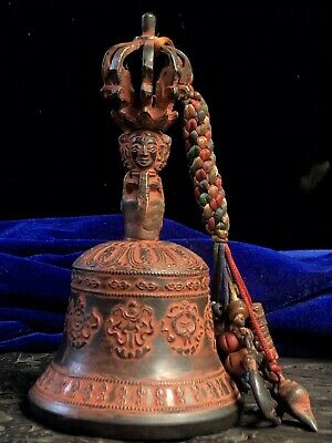 Chinese Tibetan Buddhism temple Collection Old copper cinnabar Bell Faqi 法器