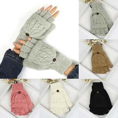 Winter Warm Fingerless Women Ladies Girls Half Finger Flip Top Mitten Gloves
