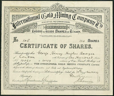 South Africa: International Gold Mining Co. Ltd., £1 shares, 1889