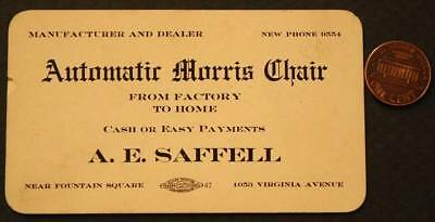 1890-1900 Indianapolis,Indiana Fountain Square Morris Chair store business card*