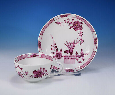 "Meissen ""Garbenmuster in purpur"" antike Tasse & Untertasse 1740-1780"