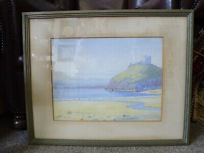 Vintage Criccieth Castle Welsh Art framed Old watercolour painting H Barkas 1938