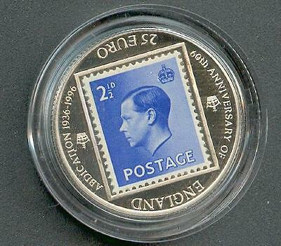 €25 England Edward VIII with Stamp Silver Pp Piedfort