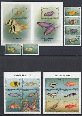 Fish - Marine life Antigua & Barbuda 2655-60 + 61-72 KB + Bl.386/7 (mnh)