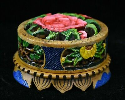 """4"""" Old Chinese Palace Shoushan Stone Painted Hand-Carved Flower Round lid Box"""