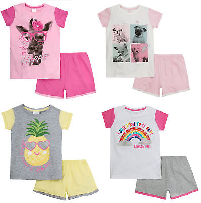 Girls Novelty Pyjama Set 2 Piece Short Summer Pjs T Shirt + Shorts Kids Size