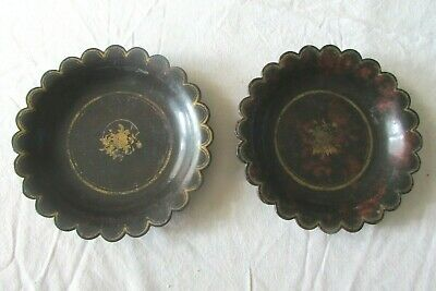 Pretty Antique French 19thc Papier Mache Victorian Calling Card Lacquered Trays