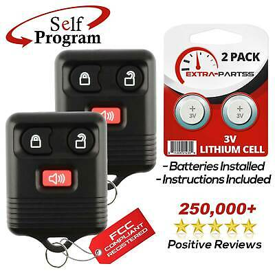 2 NEW 2000-05 Ford Excursion 3 Button Keyless Entry Key Fob Remote 3V Battery