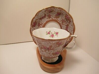"""Royal Albert China Cup&Saucer """"True Love"""" Taupe With White Lace Pink Flowers"""