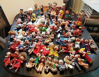 """Doll Figurines 60'S Era Pipe Cleaners """"76 Lot"""" Handmade Vintage Estate Find"""